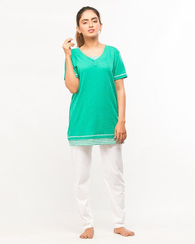 Green Top With Pajama Night Wear For Women - Paksa Pk