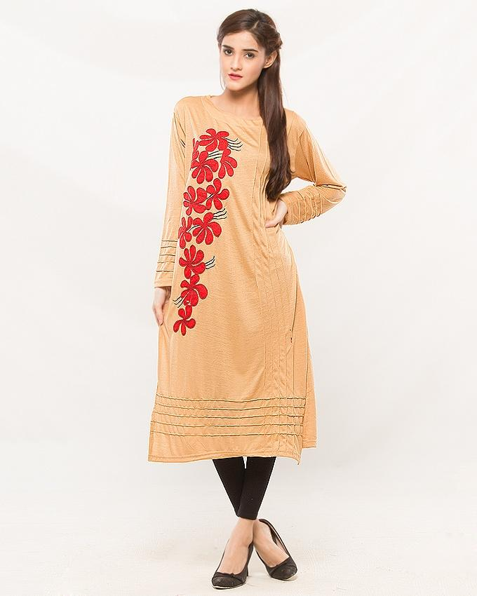 Beige Embroider Kurti For Women - Paksa Pk