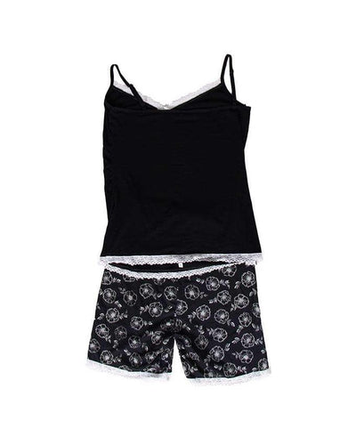 Black Flower Sleeveless Short Suit For Women - Paksa Pk