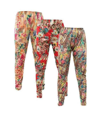 Pack Of 3 Floral Printed Tights For Women - Paksa Pk