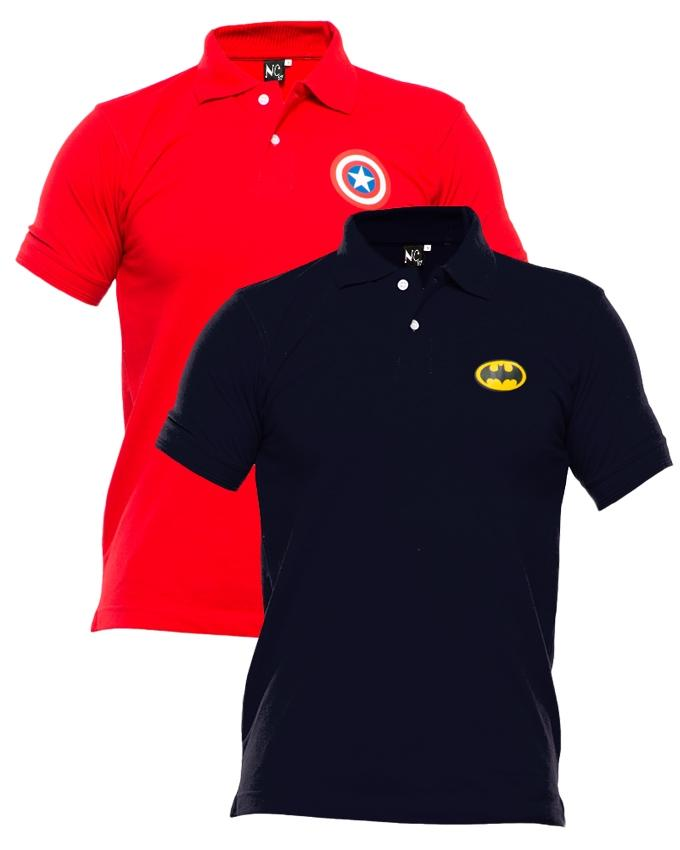 Pack of 2 Red & Black Polyester & Cotton Polo Shirt with Front Logo for Men - Paksa Pk