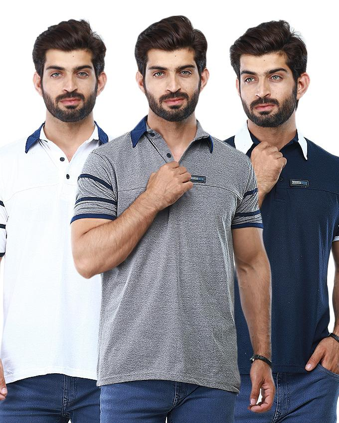 Pack of 3 Sleeves Strip Polo Shirts For Men - Paksa Pk