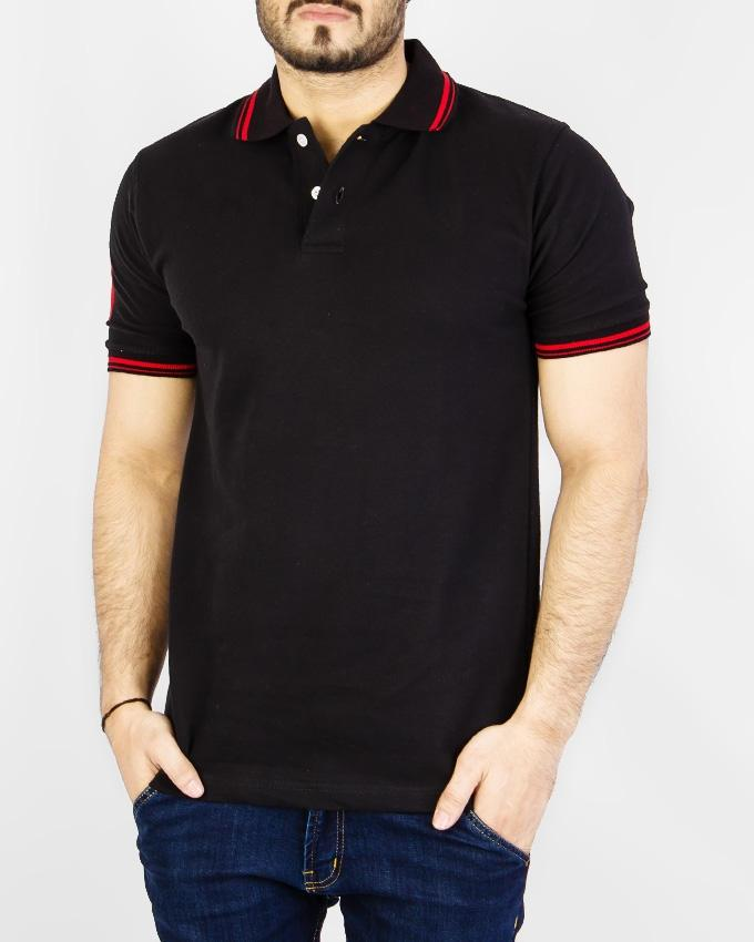 Cotton Black Polo Stretchable T-Shirt With Tipping Collar - Paksa Pk