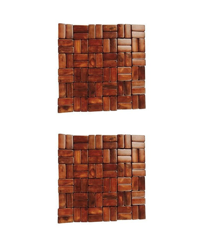 Pack of 2 - Bamboo Wood Heat Pad - Brown (6 x 6 Inches) - Paksa Pk