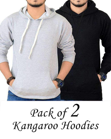 Pack Of 2 - Black & Grey Fleece Kangaroo Hoodies For Men - Paksa Pk