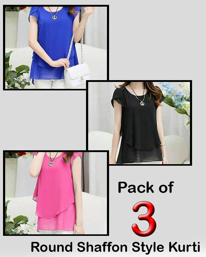 Pack of 3 Round Shaffon Style Top For Women - Paksa Pk