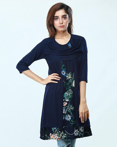 Navy Blue Printed Top For Women - Paksa Pk