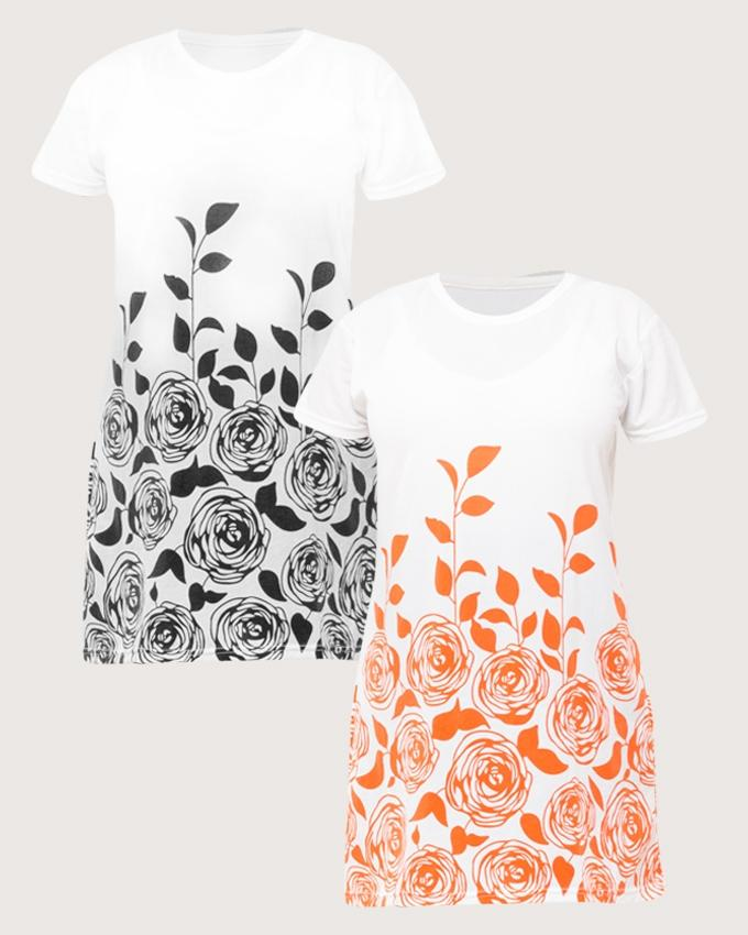 Pack of 2 - Cotton Flower Printed Top For Women - Paksa Pk