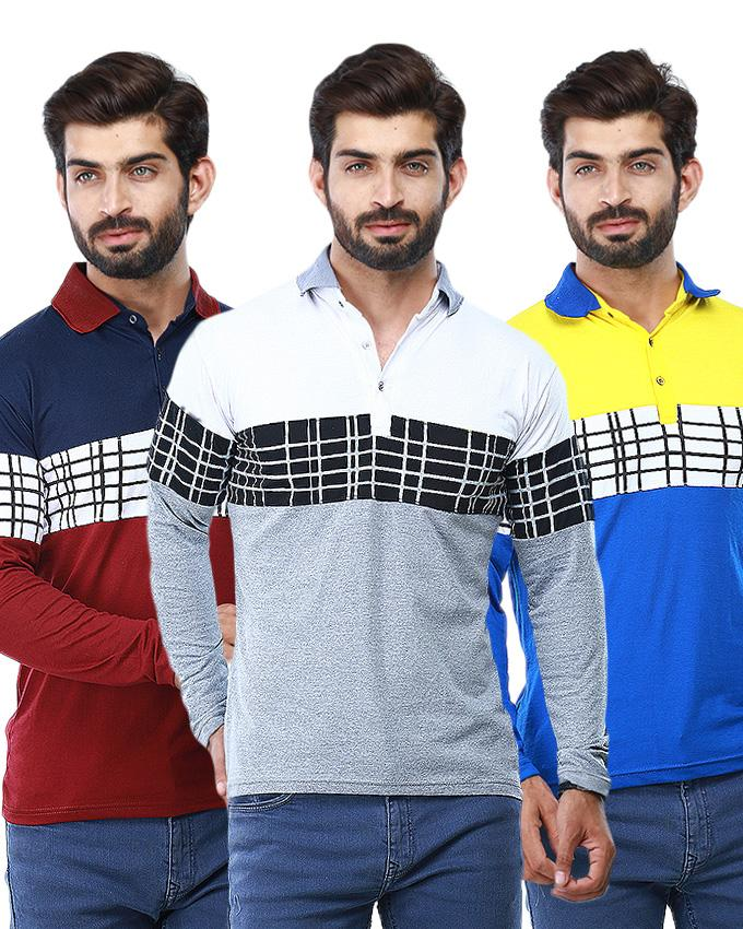 Pack of 3 Chest Boxes Design Polo Shirts For Men - Paksa Pk