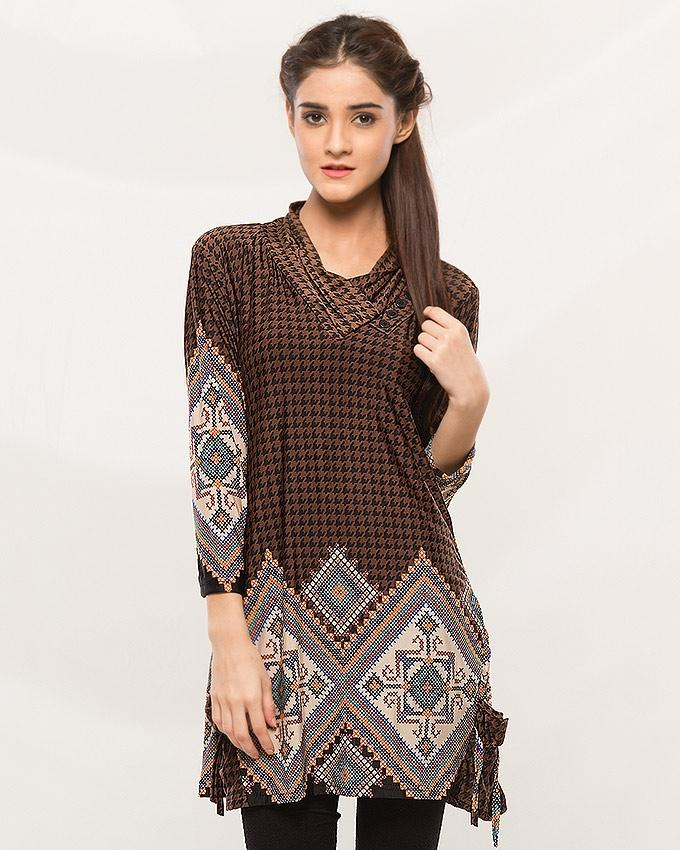 Brown Printed Top For Women - ABZ-2221 - Paksa Pk