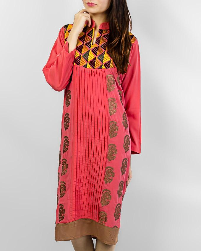 Pink Boski Kurta With Front Design For Women - Paksa Pk