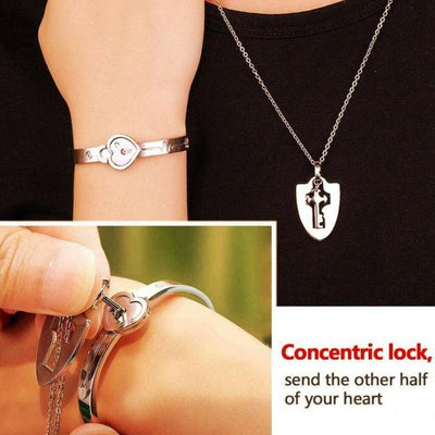 Silver Stainless Steel Bracelet Heart Lock Bangle with Key Pendant Necklace - Paksa Pk
