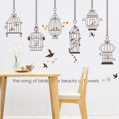 Song of Birds in Cages with Flowers Wall Stickers - Paksa Pk