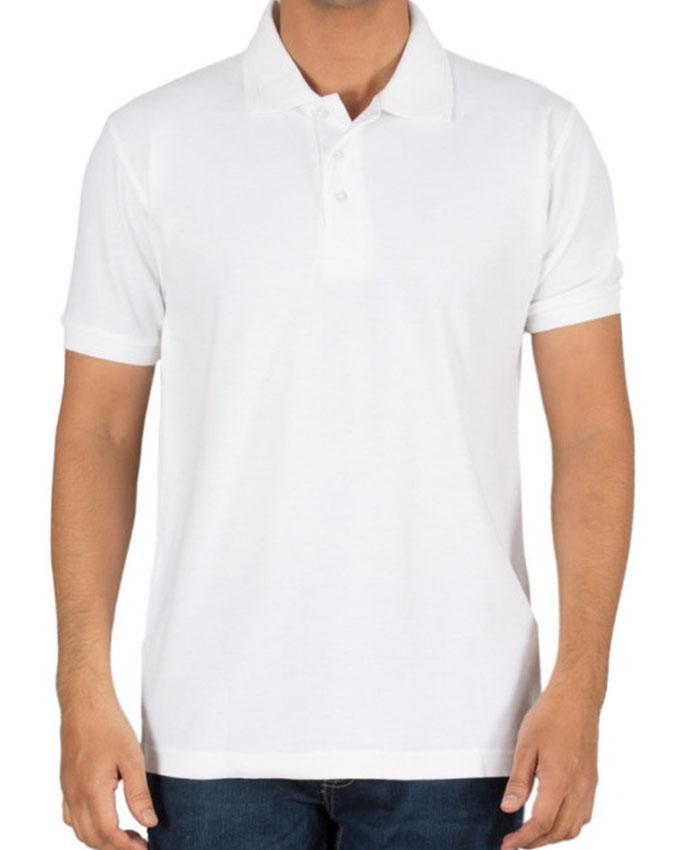 White Cotton Plain Polo T-Shirt For Men - Paksa Pk