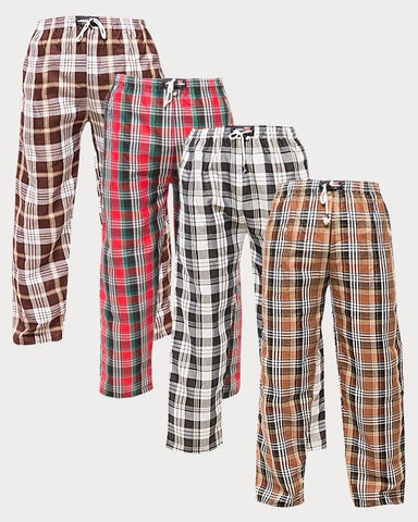 Pack of 4 - Multi-color Cotton Checkered Trouser For Men - Paksa Pk