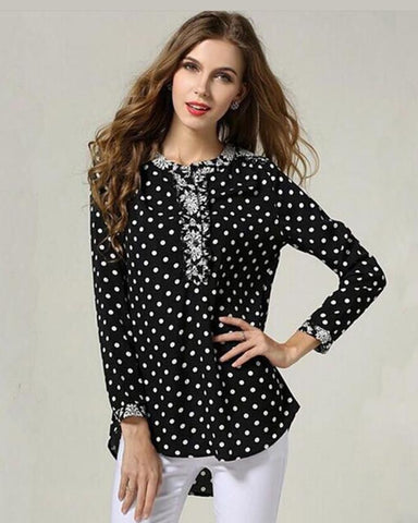 Black & White Doted Printed Shirt For Women - Paksa Pk