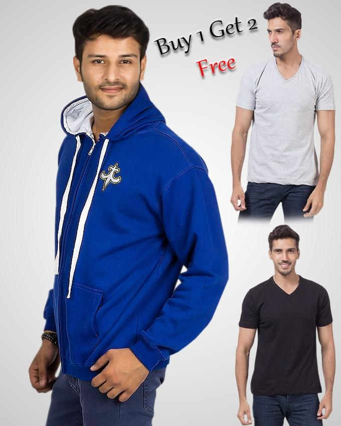 BLUE HOODIE WITH FREE 2 V-NECK T-SHIRTS FOR MEN - Paksa Pk