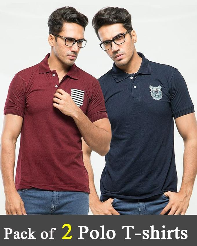 Pack Of 2 Polo T-Shirt With Front Logo For Men - ABZ-2328 - Paksa Pk