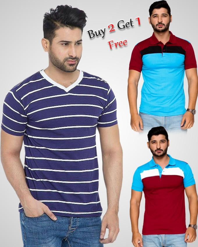 Buy 2 Polo T-Shirts Get 1 V-Neck Stripe T-Shirt Free For Men - Paksa Pk