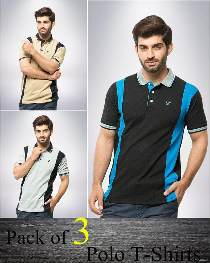 Pack of 3 Multicolor Polyester & Cotton Polo Shirt For Men - Paksa Pk