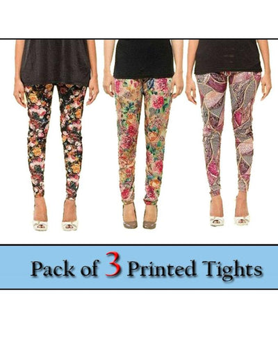 Pack Of 3 - Printed Tights For Women - Paksa Pk