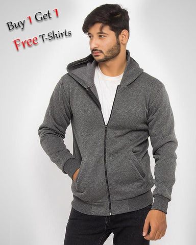 BUY 1 STYLISH HOODIE GET 1 ROUND NECK T-SHIRT FREE FOR MEN - Paksa Pk