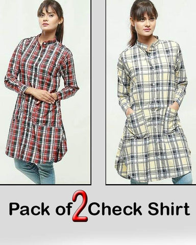 Pack of 2 Check Shirt For Women - Paksa Pk