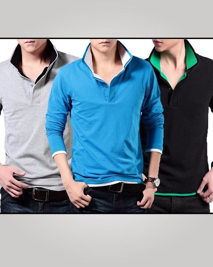 Pack of 3 Double Collar Full Sleeves Polo Shirts For Men - Paksa Pk