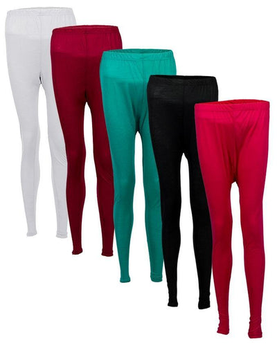 Pack of 5 Multicolor Cotton & Viscose Tights For Women - Paksa Pk