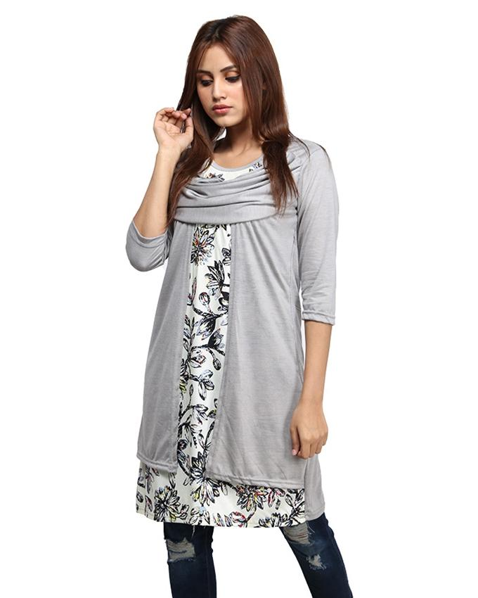 Grey With Printed Top For Women - Paksa Pk