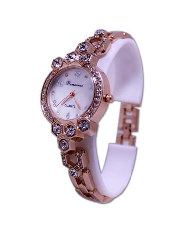Golden Metal Big Stone Bracelet Analog Watch for Women - Paksa Pk