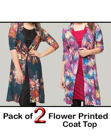 Pack of 2 Flower Printed Coat Top For Women - Paksa Pk