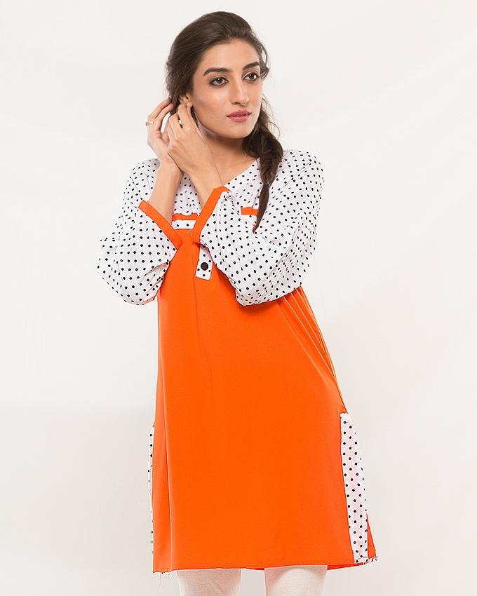 White & Orange Kurti For Women - ABZ-2238 - Paksa Pk