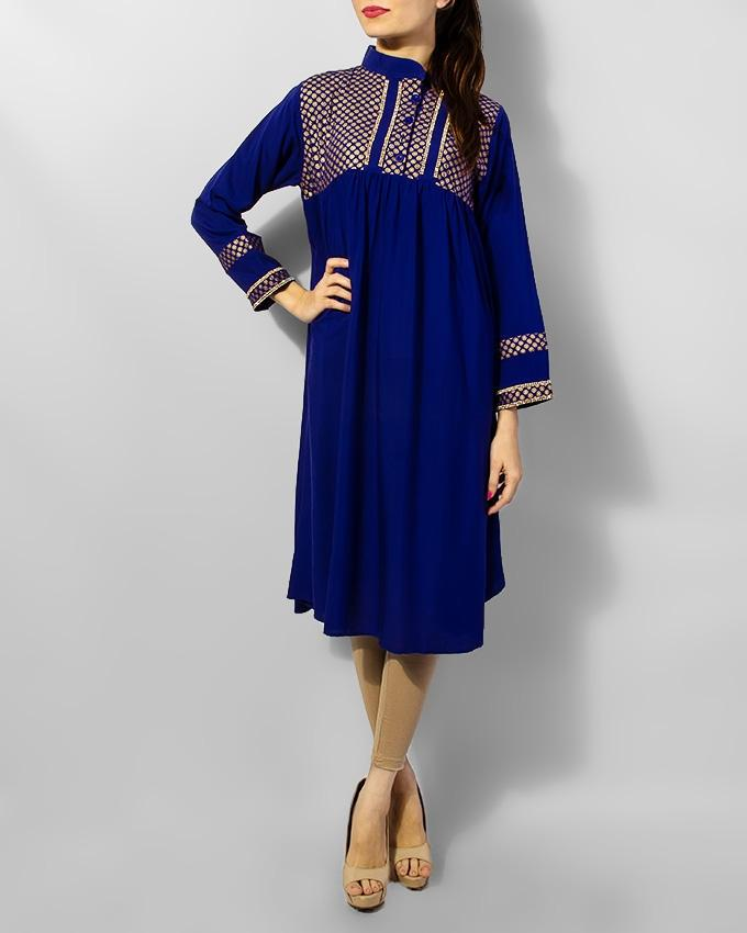 Blue Boski Fancy Kurta With Front Stone Style - Paksa Pk