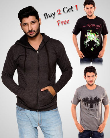 BUNDLE OF 3 BUY HOODIE & T-SHIRT GET 1 T-SHIRT FREE FOR MEN - Paksa Pk