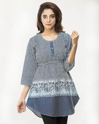 Navy Blue Printed Stylish Top For Women - Paksa Pk