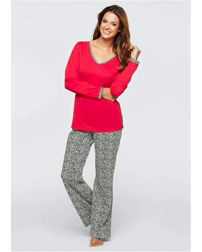 Red Cheetah Print Trouser Night Suit For Women - Paksa Pk