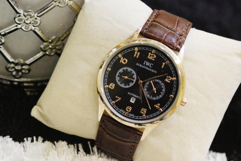 Stylish Brown Leather Strap IWC Watch For Men - Paksa Pk