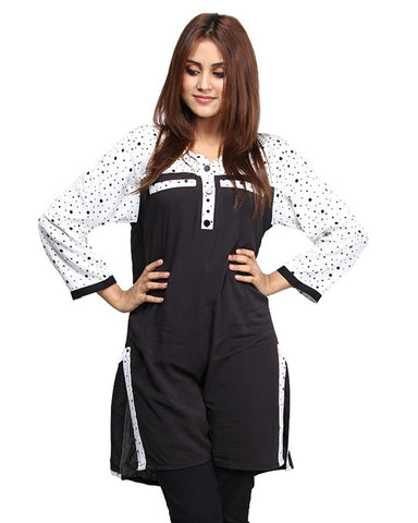 Black & White Dotted Sleeves Top For Women - Paksa Pk