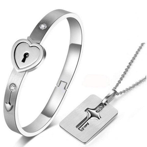 Silver Stainless Steel Bracelet Love Heart Lock Bangle Key Pendants Necklace - Paksa Pk