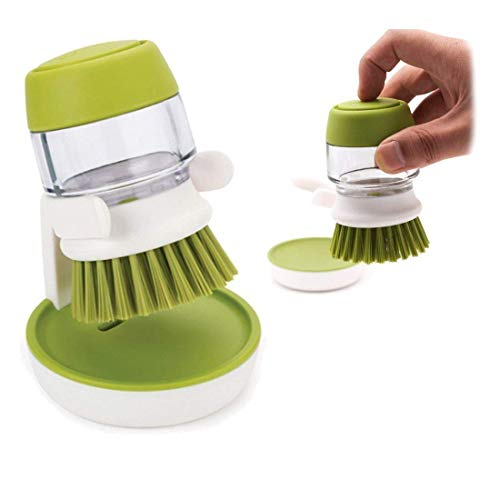 Soap Dispensing Palm Brush with Storage Stand-White And Green - Paksa Pk