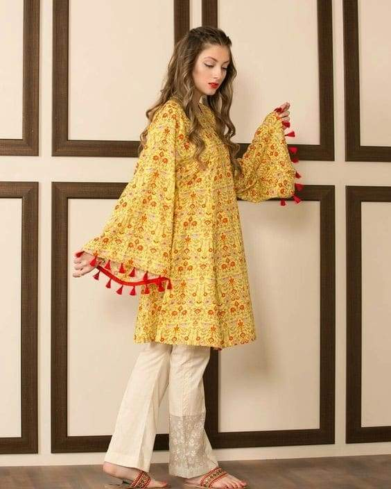 Classy Kurti With Pretty Bell Sleeves - Paksa Pk
