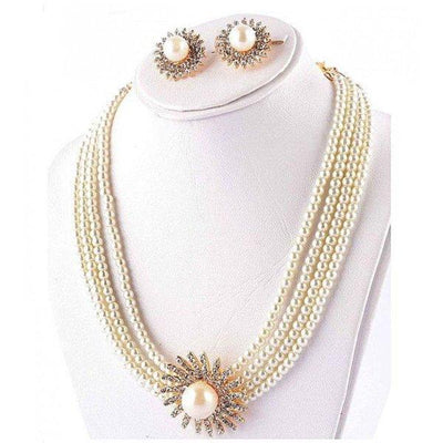 White Jewelry Set with Center Golden Flower Stone - Paksa Pk