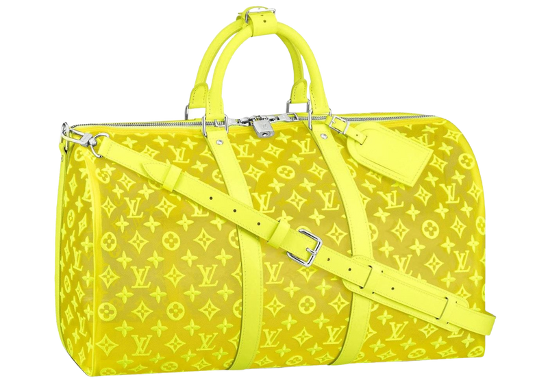LOUIS VUITTON KEEPALL BANDOULIERE MONOGRAM MESH 50 YELLOW
