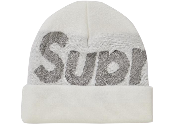 SUPREME BIG LOGO REFLECTIVE BEANIE WHITE