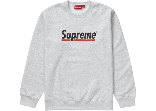 SUPREME UNDERLINE CREWNECK SWEATSHIRT GREY