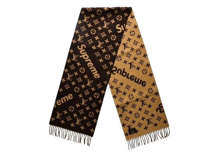 LOUIS VUITTON SUPREME MONOGRAM SCARF BROWN