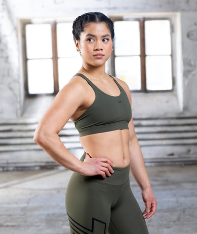 army green performance-sports-bra