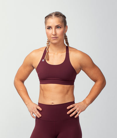 wine red performance-boost-sports-bra