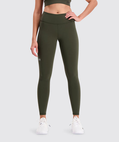 mid waist training tights#army_green